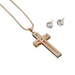 Wholesale Earring 3d - Free Shipping Fashion Long Chunky Chain Rhinestone 3D Cross Pendant Necklace And Crystal Earrings Jewelry Set