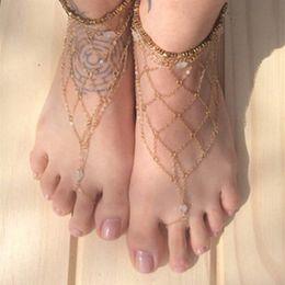 2019 tornozelo escravo sexy Moda Verão Sexy Sandálias Descalço Escravo Rede de Malha Anklet Multi-camada Cadeia Do Dedo Do Pé Tornozelo Jóias Lot 12 Pcs tornozelo escravo sexy barato