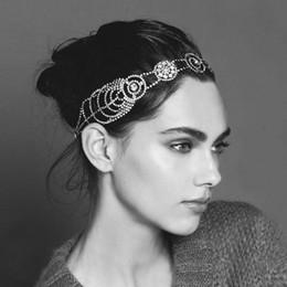 Tocado de plata bohemio online-Accesorios para el cabello nupcial Diseñador 2016 Crystal Bling Rhinestone Boho Accesorios para el Cabello Novia Bohemia Novia Celada Joyas de Plata de Oro