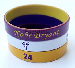 Wholesale Kobe Charms - 100pcs Kobe Bryant wristband silicone bracelets embossed printed rubber cuff wrist bands free shipping