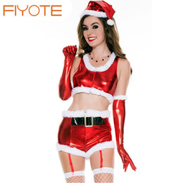 Wholesale Santa Claus Adult - Wholesale-FIYOTE New Stylish White Fur Trim Mesh Splice Hooded Santa Babydoll Set LC7264 sexy christmas costumes santa claus for adults