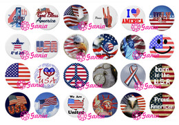 Wholesale 4th July Wholesale - DIY Interchangeable 18mm Cabochon Glass Stone Buttons July 4th Patriotic Button for Snap Jewelry Bracelet Necklace Ring Earrings
