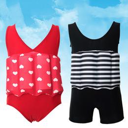 Wholesale Silver Swimsuit Wholesale - Wholesale- Floating Buoyancy Baby Boy Girl Swimsuits Detachable Swimwear Siamese Swimming Training Kids Swimming Float Suits