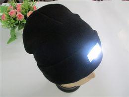 Wholesale Led Knit Caps - Free fedex Led Winter Beanie fashion led glowing knitted caps Glowing Hat 5 led glow knitting hat ZD124