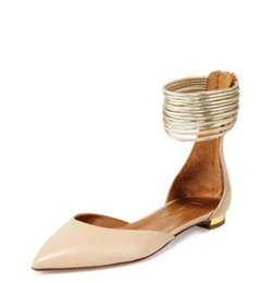 Wholesale Ring Strap Shoes - Free shipping 2016 aquazzura black genuine suede and nude leather & gold ring women sandals party shoes flat sandals good quality