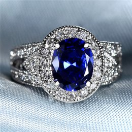 Wholesale Oval White Sapphire - Wholesale Blue Sapphire Ring 18KT White Gold Plated Oval 2.75ct Crystal around zircon Brand new Fashion jewelry gem stone for women Gift