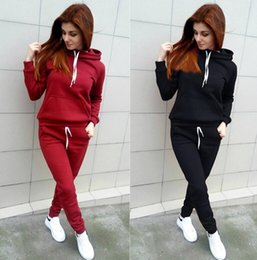 Wholesale Long Top Piece For Women - 2 piece set women 2017 Autumn Keep warm Long Sleeve Hoodies Sweatshirts casual tracksuit for women two piece set top and pants