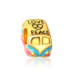 Wholesale Pandora Peace Charm - Cute toy car Bead gold Color Plating European Charm Fit Pandora OEM Bracelet Letter love peace charm beads