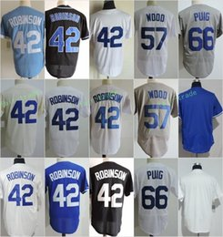 Los Angeles 42 Jackie Robinson 57 Alex Wood 66 Yasiel Puig Blank Jerseys  Cool Base Throwback Stitched Blue White Grey Black b26784b8354