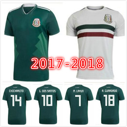 Wholesale Wholesale Jersey Shorts - New Arrived 2017 2018 Mexico CHICHARITO Soccer Jersey G.DOS SANTOS R.MARQUEZ Home Green Away Hernandez 17 18 national Team Football Shirt