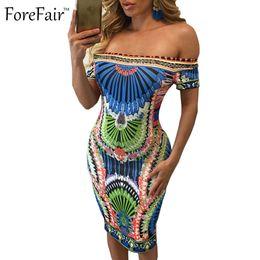 Wholesale Vintage Sheath Dress Xs - Wholesale-S-XXL new bohemian geometric vintage summer dress 2016 sexy slash neck bandage bodycon party dresses plus size women clothing