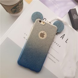 Wholesale Iphone Rope - 3D Minnie Mickey Mouse Ears silicone Glitter Gradient Case for iPhone 5 5S 6 6S 6Plus Case Cover with Hang rope phone cases