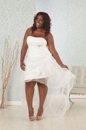 Wholesale Drop Waist Gown Wedding Dresses - Drop Waist Drapped Organza Plus Size Wedding Dresses Hign Low White Beach Wedding Dress Bridal Gown 2016 Chinese