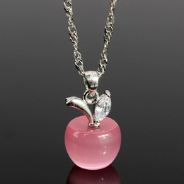 Wholesale Diamant Necklace - 2016 New Fashion 925 Sterling Silver Necklace Pendants Clear Pink Opal Apples Crystal Faux Diamant Lovely Necklaces