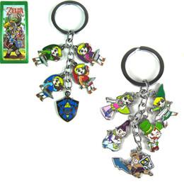 Wholesale Legend Zelda Figures - The Legend of Zelda Figures 5 small Pendants Metal keychain Classic rustless Zinc Alloy Anime Key Ring