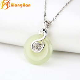 Wholesale Nephrite Pendant - S925 sterling silver hetian jade pendants gemstone necklaces nephrite swan pendant natural silver swan jade necklaces fine jewelry JJ004