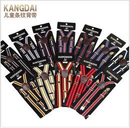 Wholesale Boy Kids Belts - High Quality Kids Stripe Suspenders Adjustable Y-back Braces Clip-on Elastic Suspender Children Belt Baby Straps Accessories Wholesale