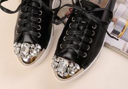 Wholesale Caps Studs - free hongkong post~u097 40 genuine leather diamond studs cap toe sneakers
