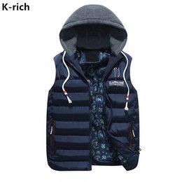 Wholesale Rich Coats - K-rich Winter Vest Men Waistcoat For Men Slim Hooded Casual Fashion M-3XL Plus Size Letter Printed Slim Vest Coat High Quality