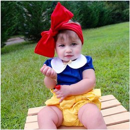 Wholesale Snow White Shirts - INS baby outfits 2016 summer toddler kids snow white short sleeve T-shirt+shorts +red Bows headbands 3 pcs sets babies clothes