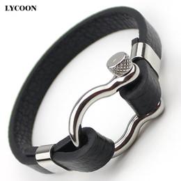 Pulido pulsera de acero inoxidable reloj online-Titanio acero D nudo tornillo brazalete brazaletes de acero inoxidable pulido pulsera de cuero genuino para los hombres de moda diseño clásico reloj pulsera brazalete