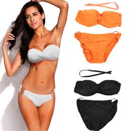 Wholesale Strapless Padded Push Up Swimsuit - Sexy Women Retro Strapless Bikini Set Bandage Two Piece Swimwear Push Up Padded Swimsuit Beach Wear Bathing Suit