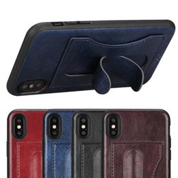 Wholesale Iphone Case Hybrid Vintage - For iPhone X 10 Retro Leather Case U Holder with Card Slot Hybrid Silicone Vintage PU Cover for iPhoneX i10 iPhone10