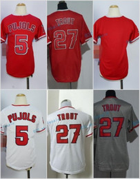Wholesale Cool White Kids - 2017 Kids Majestic Stitched Los Angeles Blank 5 Albert Pujols 27 Mike Trout White Red Grey Gray Youth Cool Base Baseball Jersey
