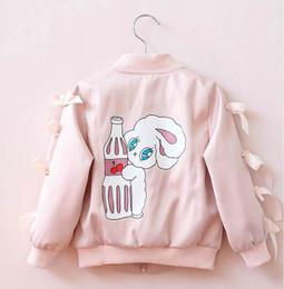 Wholesale Girls Pink Coat Bow - 2017 Autumn New Girls Outerwear Sleeve bow back Cartoon Rabbit Long Sleeve Leisure Coat Children Clothing 317841
