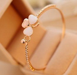 Wholesale Opal Bangles - New Fashion Jewelry Brand Design Sweet Gold Plated Clover Opal Charm Bracelet Exquisite Bracelets Bangle For Women Ladies Little Gift