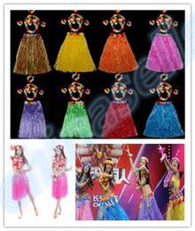 Wholesale Women Costume Cheerleader - 6PCS set 60cm Plastic Fibers Women Grass Skirts Hawaiian Hula Skirt set cheerleaders costumes Ladies Dress Up