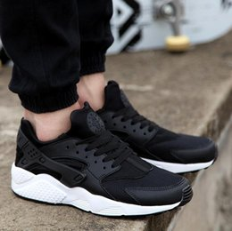 Wholesale Womens Shoe Denim Blue - Air Huarach Run PA Premium Black White Knit Men Women running shoes For Mens Womens Shoes
