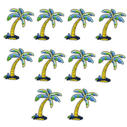 Wholesale Tree Patches - 10PCS coconut tree embroidery patches for clothing iron patch for clothes applique sewing accessories badge stickers on cloth iron on patch