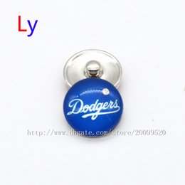 Wholesale European American Fashion Ring - Fashion accessories Los Angeles Dodgers MLB baseball glass snap button jewelry charm popper for fans bracelet jewelry making NE0095
