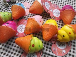 Wholesale Big Free Cell - 20pcs Lot 8cm PU slow rising corful Ice cream style Squishy Cell Phone Charm Free Shipping