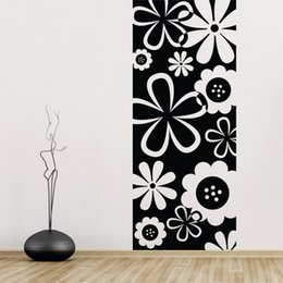 Wholesale Kids Rain Wall Stickers - Flower Scenery Background Rain Of Petals Wall Stickers Flower Drawing Carving Vinly Decration For Living Room Home Decoration