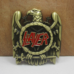Wholesale Drop Ship Music - BuckleHome slayer belt buckle music belt buckle FP-02905 4cm loop wideth antique brass finish drop ship available
