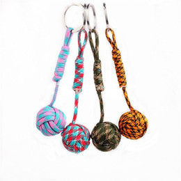 Wholesale Wholesale Hot Monkey - Monkey Fist Knot Key Chains Buckle Self-defense Core Keychain Steel Hot Sale Survival Paracord lanyard Outdoor Travel
