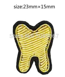 Wholesale Teeth Brooches - 2017 New High quality 3D HAND EMBROIDERED gold Tooth PIN Jewelry Patches Badge France BULLION WIRED BLAZER BROOCHES