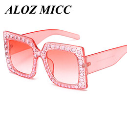 Wholesale Designer Frames For Sale - ALOZ MICC Brand Designer Fashion Women Sunglasses for sale Big Frame Crystal Square Diamonds Sunglasses Hot Sale free shipping UV400 A331