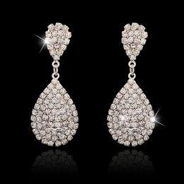 Wholesale Handmade Fashion Earrings - 2016 Newest Women Fashion Jewelry Style Silver Plated Crystal Rhinestone Handmade Dangle Earrings for Girl Water Drop Earring