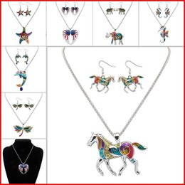 Krabbenohrringe online-hübsche Halskette Sets Emaille Pferd Elefant Krabben Seestern Halskette Ohrringe Schmuck Sets Anhänger für Frauen Versilbert Emaille Schmuck Set