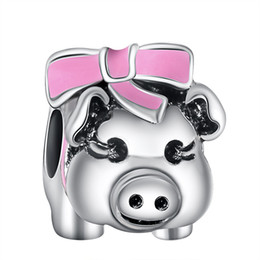 Wholesale Pig Charm Silver - Wholesale Lovely Pig With Pink Ribbon Charm 925 Sterling Silver European Charms Bead Fit Snake Chain Bracelets Fashion DIY Jewelry