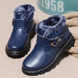 Wholesale Child Blue Snow Boots - New Boys Girls Winter Snow Boots Children Ankle Shoes Breathable Sneakers For Kids Martin Boot Flats Oxford Leather Shoe