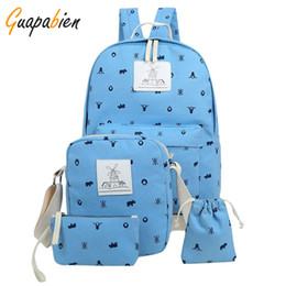 Wholesale Canvas Big Backpack For School - Wholesale- Guapabien 4pc Set Korean Girls Printing Canvas Backpack Set Big School Travel Backpack for Teenagers Student Schoolbags Rucksack