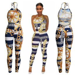 Wholesale Nightclub Jumpsuits For Women - Sexy Hot selling Fashion Sleeveless Jumpsuit Bangage Bodysuit for Women Party Romper Streetwear Print Prom Playsuit NightClub Wear Overalls