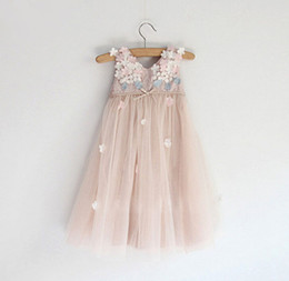 Wholesale Wholesale Childrens Party Dresses - High Grade Girls Crochet Lace Dress Childrens Fashion Clothing Girls Pretty Lace Tulle Flower Princess Dress New Flower Girls Party Dress
