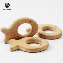 handgefertigte metall-tags Rabatt Wholesale-10pcs Holzperlen Fisch Holz Beißring Handmade Cut Anhänger aus Buchenholz