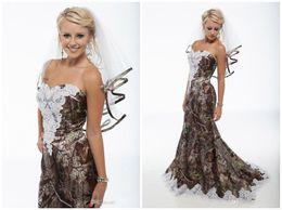 Wholesale Camouflage Dresses Plus Size - 2016 New Camouflage Mermaid Wedding Dresses lace trailing Wedding Dress sexy strapless beach formal Wedding Dresses sent veil plus size