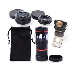 Wholesale Len Clip Eye - Universal 4 in1 Wide Angle + Macro+Fish Eye+10X Zoom Telescope Camera Lens for Smartphone Clip-on Len kit